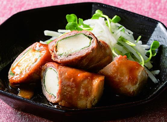 <漬け生姜焼きアレンジレシピ> 豆腐のしそ豚巻き