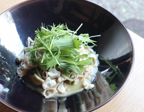 白身魚と葱と水菜のパスタ